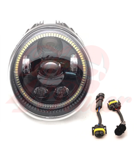 Oval Harley style Headlight Led Headlamps insert black Hallo ring DRL