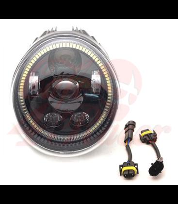Oválne Harley Hlavné LED svetlo  vložka čierna  Hallo ring
