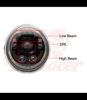 Oval Harley Headlight Led Headlamps insert black Hallo ring
