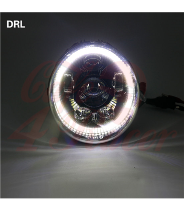 Oval Harley Headlight Led Headlamps insert black Hallo ring