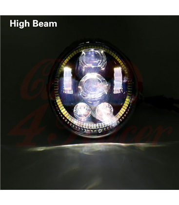 Oval Harley Headlight Led Headlamps insert black Hallo ring DRL