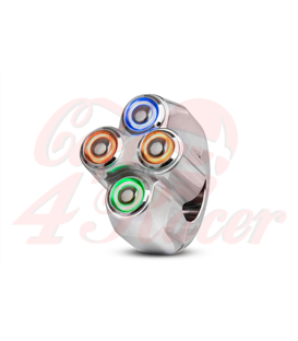 "Rebel tlačidlo 4  button LED – leštený 25,4mm 1"""