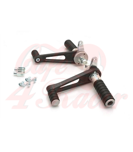 TAROZZI  Universal rear sets for cafe racer  - fixed footpegs  SILVER/BLACK