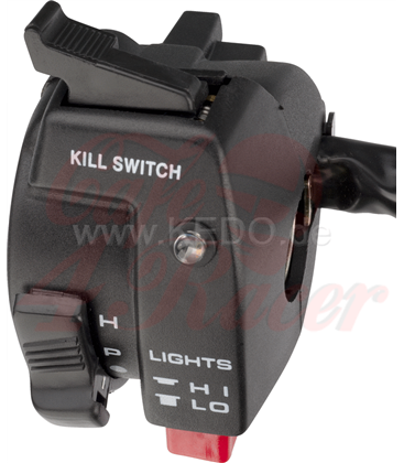 All-In-One Handlebar Switch (LH) with Lights On/Off/Park, Hi/Lo, Turn, Horn, Kill, LED for HighBeam, Yamaha Plug Typ
