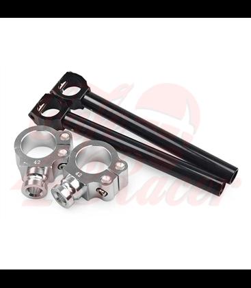 Cafe Racer Clip-ons Type 1 - Strieborné, čierne trubky  41mm