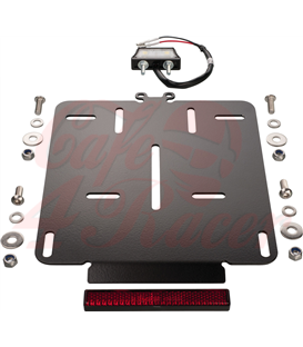 Universal License Plate incl. E-approved LED license plate light + reflector, 2mm aluminium black coated, fits Euro