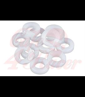 Nylónové podložky biele  M4 / M5 / M6 / M8  Set  100 ks 35x M4  35x M5  15x M6  15x M8