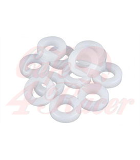 Washers  Nylon  white M4 / M5 / M6 / M8  Set  100 pieces.  35x M4  35x M5  15x M6  15x M8
