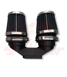 BMW K-Series Air Intake adapter Black PLA for 2 filters 54  mm outlet + 2x 54mm air filters CHROME