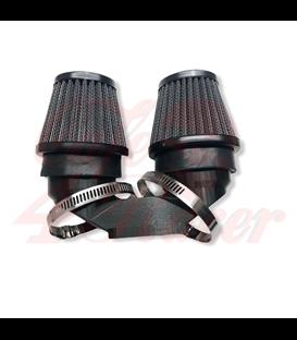 BMW K-Serie Air Intake PLA rovny pre 2 filtre  54mm  + 2x 54mm air vzd. filter čierny