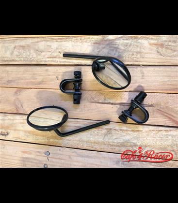 RETRO Čierne matné S5 zrkadlá pre  Harley