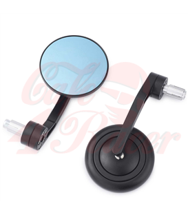 RETRO Aluminum CNC   Handle Bar End Side Mirrors black