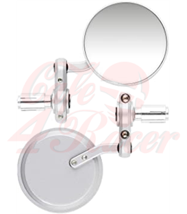 Round Handle Bar End Side Mirrors CR1  silver
