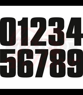 Start number set 80s-Style, black matt, 112mm high, 1 piece each (0 to 9), heavy duty
