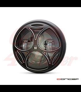 "7.7"" Matte Black LED Headlight + Tri-Maltese Grill Cover"