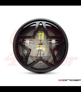 "7.7"" Matte Black LED Headlight + Big Star Cover"