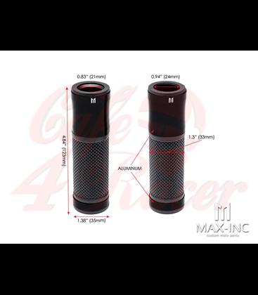 "Retro Anodized CNC Machined Aluminum / Rubber Hand Grips - 7/8"" (22mm)(Various Colors) - Black"