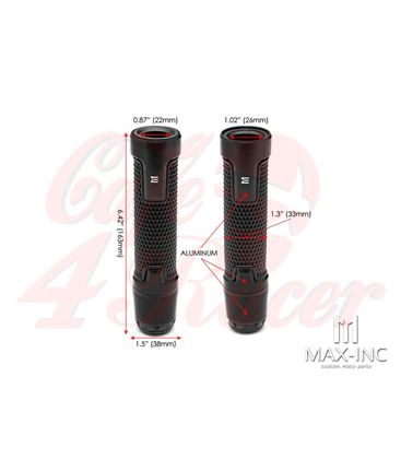 "Sportz Anodized CNC Machined Aluminum / Rubber Hand Grips + Bar Ends - 7/8"" Dark Orange"