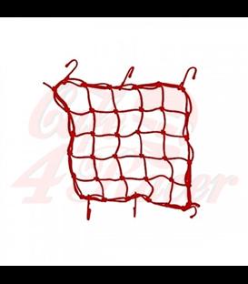 Luggage net  red , 6 hooks , 40 x 40cm