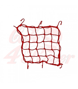 Sieť na batožinu červená, 6 hák , 40 x 40cm