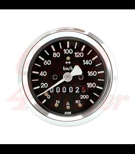 MMB 60mm basic speedometer 200km/h, chrome ring black background