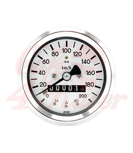 MMB 60mm basic speedometer 200km/h, chrome ring white background