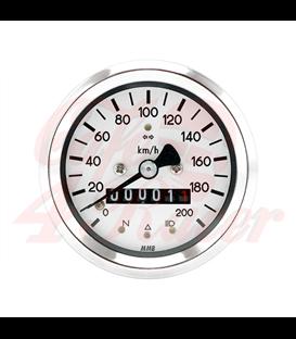 MMB 60mm BASIC rýchlomer 200km/h, chrómový rámček biely podklad