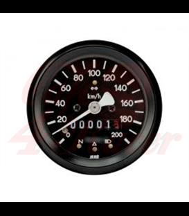 MMB 60mm basic speedometer 200km/h, black ring black background