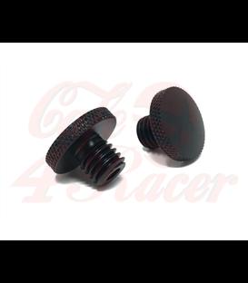 Black CNC Machined Billet Aluminium Threaded Mirror Block Off Plugs (2pcs) M8