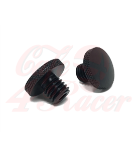 Black CNC Machined Billet Aluminium Threaded Mirror Block Off Plugs (2pcs) M10