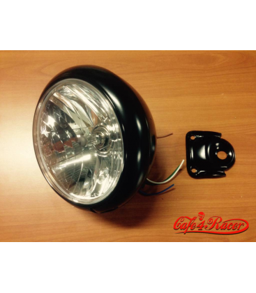 "7"" Oldskool Cafe Racer Predné svetlo Flat Black"