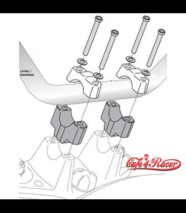 SW-Motech handlebar riser 50 mm black/silver