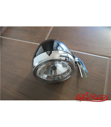 SHIN YO main headlight, glossy black with chrome ring