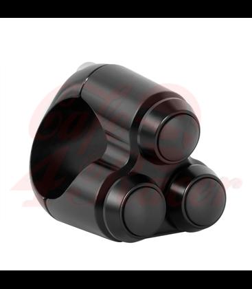 "Triple Micro Switch Button Housing - 22mm 7/8"" Handlebar - Black"