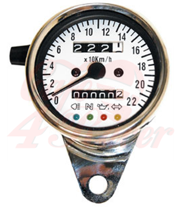 Universal  Speedometer  chrome with 4 function lights