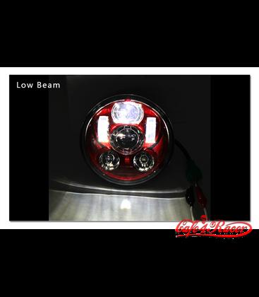 """5-3/4 5.75""""  Harley Hlavné LED svetlo vložka červená"""