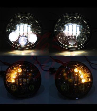 """5-3/4 5.75""""  Harley Hlavné LED svetlo vložka čierna LED smerovky"""