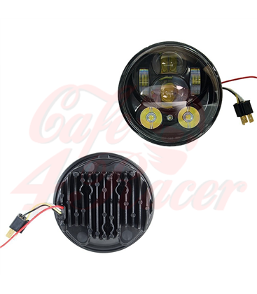 "5-3/4 Harley Headlight 5.75"" Led Headlamps insert black LED parking"