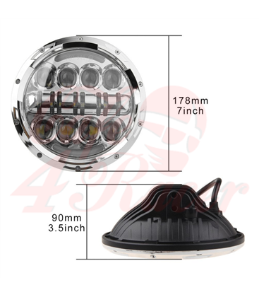 "7"" / 17,8cm Harley Headlight Led Headlamps insert chrome"