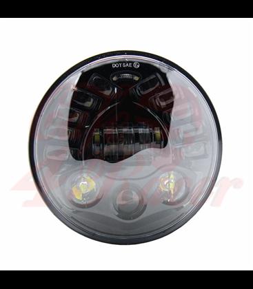 """7"""" / 17,8cm Harley Hlavné LED svetlo  vložka čierna s funkcoiu CORNER"""