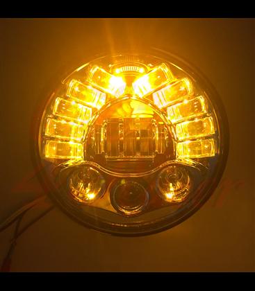 """7"""" / 17,8cm Harley Hlavné LED svetlo  vložka čierna so smerovkami"""