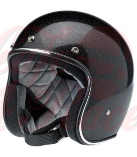 Biltwell Bonanza Helmet Open Face Midnight Black Miniflake