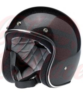 Biltwell Bonanza Helmet Open Face Midnight Black Miniflake