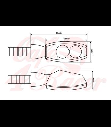 SHIN YO LED-indicator SPARK, black housing, clear lens, E-marked, pair