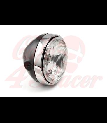 LSL Six Days headlight, black/chrome, H4