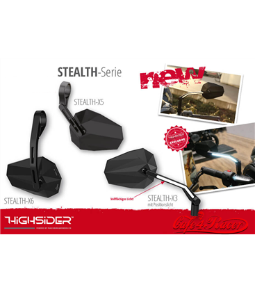 HIGHSIDER Mirror STEALTH -X3 with LED front position light, black