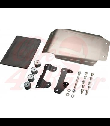 JvB-moto Engine Guard / Skid Plate, aluminium raw, stainless steel brackets black, incl. glued in shock absorber