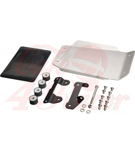 JvB-moto Engine Guard / Skid Plate, aluminium raw, stainless steel brackets black, incl. glued in shock absorber