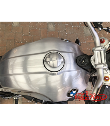 BMW R nine T fuel caps SILVER monza style brushed