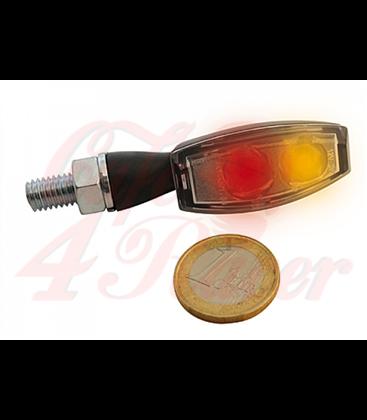HIGHSIDER LED taillight / indicator unit BLAZE, metal housing black  clear lens, pair, E-mark